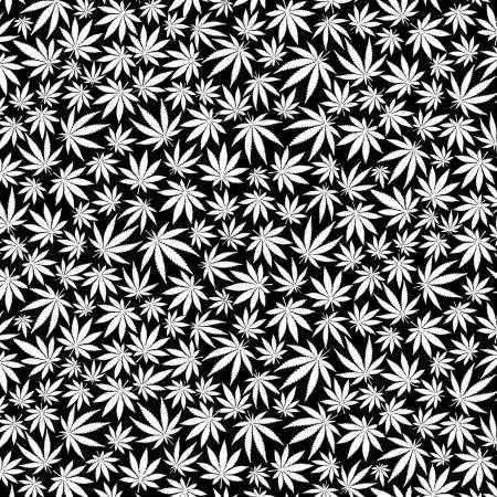 Glow in the Dark Cannabis Leaves Fabric by the Yard