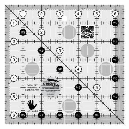 6.5in Square Ruler - LEFT HANDED - Creative Grid - CGR6LEFT