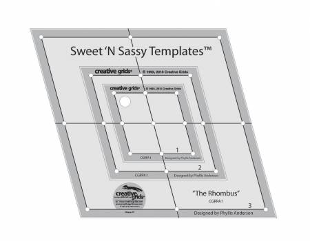Creative Grids Sweet N Sassy Rhombus Templates 3pc set with holes