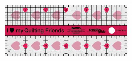 Creative Grids I Love My Quilt Friends Mini Quilt Ruler 2-1/2in x 6in