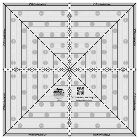 Creative Grids 12-1/2in Square It Up or Fussy Cut Square Quilt Ruler