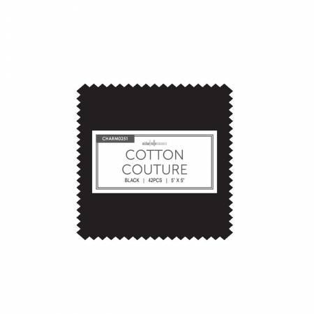 5in Squares, Cotton Couture, Black, 42pcs/bundle