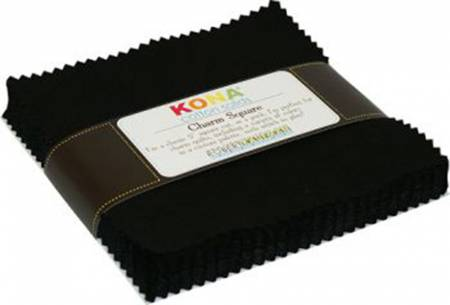 5in Squares Kona Solids Black Colorway 42pcs
