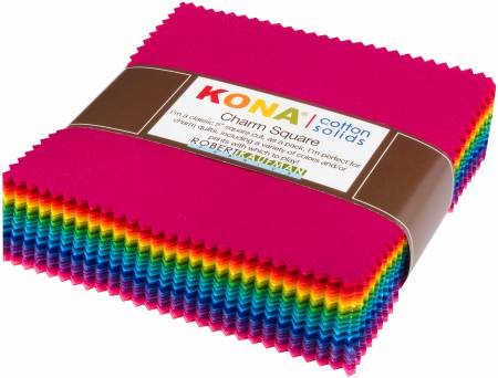 5in Squares Kona Cotton Solids Brights Colorstory 101pcs