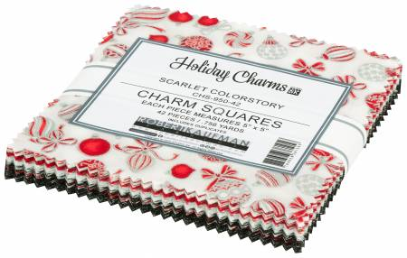 5in Squares, Holiday Charms Scarlet, 42pcs/bundle