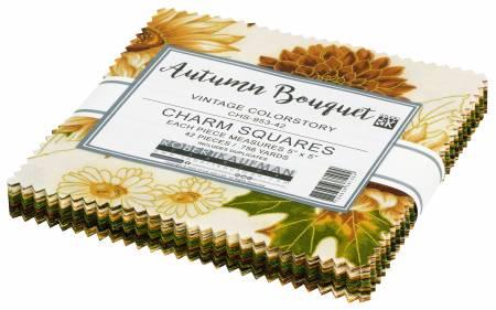5in Squares, Autumn Bouquet Vintage, 42pcs/bundle