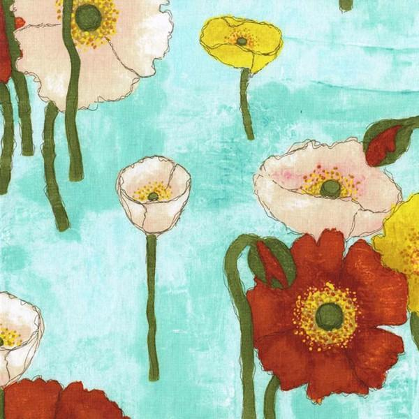 Aqua Gathered Poppies