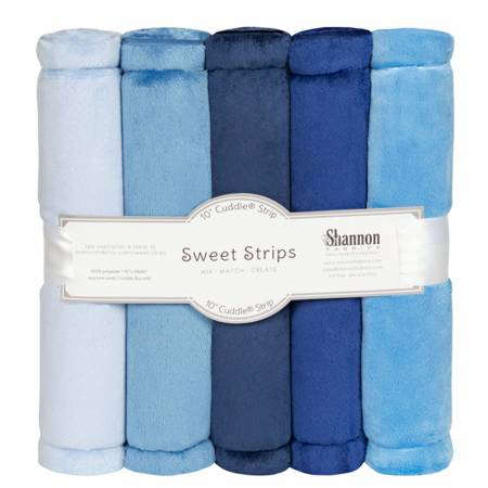 Solid Cuddle Strips 5 Pack of 10in Denim