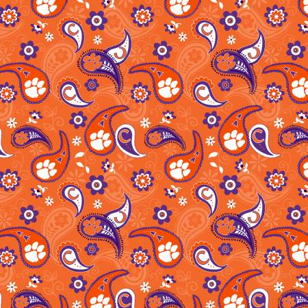 NCAA-Clemson Tigers Paisley Cotton