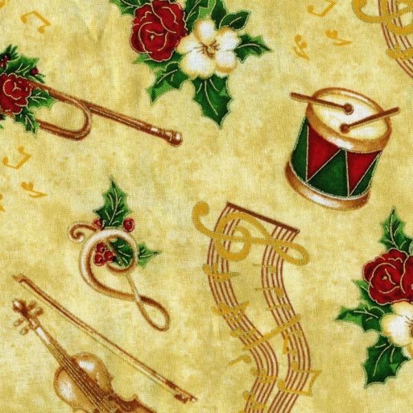 Timeless Treasures Holiday CM-3143 Gold Instrument Toss