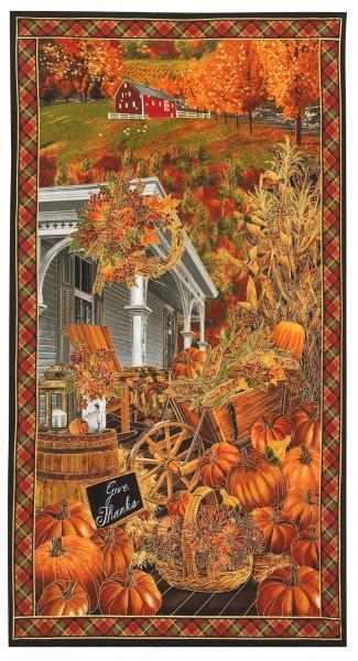 Pumpkin Harvest Scenic 24in Panel w/Metallic