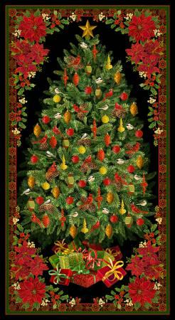 Multi Christmas Tree Panel w/Metallic 24in