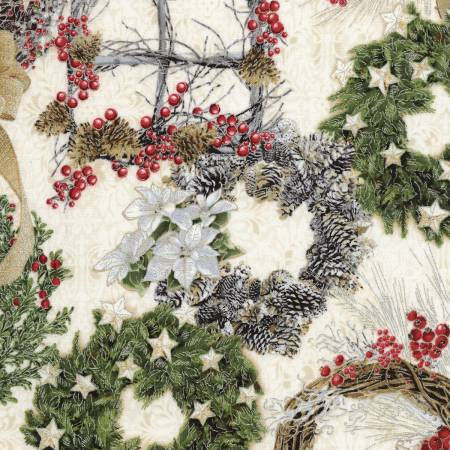 Cream Christmas Wreaths Metallic