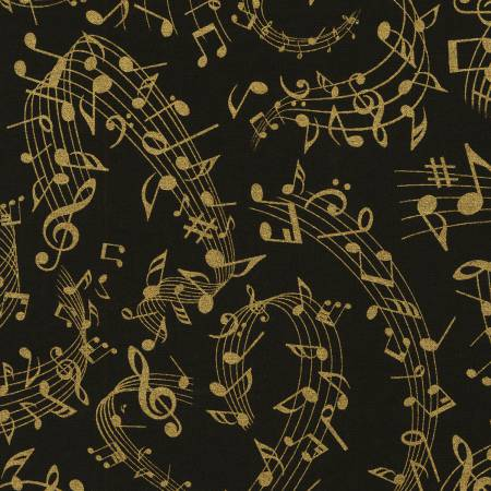 Black Music Notes w/Metallic