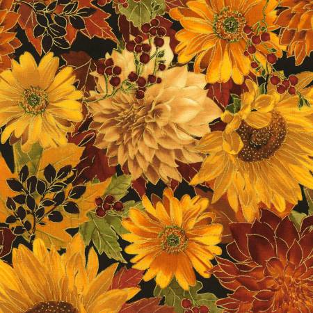 Autumn Sunflower Floral w/Metallic CM6140-AUTM
