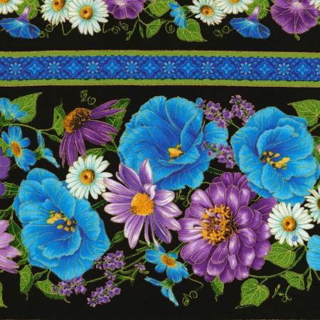 Black Floral Stripe w/Metallic