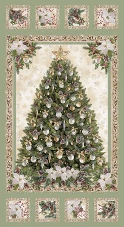 Sage A Very Merry Christmas Panel w/Metallic 24in