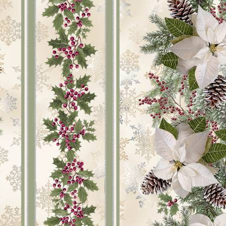 TT- Holiday Cream Poinsettia Border Stripe w/Metallic