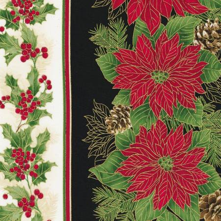 Holiday:Multi Poinsettia Border Stripe w/Metallic