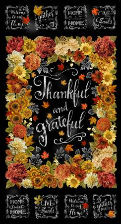 Black Thankful & Grateful Panel w/Metallic 24in repeat