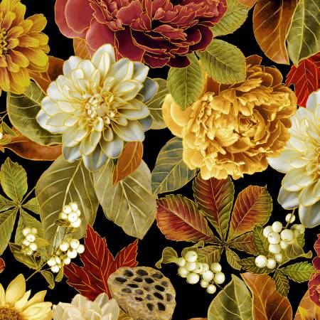 Multi Foliage Floral w/Metallic