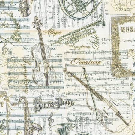 Antique Musical Instruments on Music Sheets w/Metallic