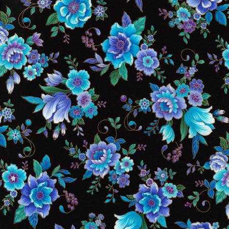 Black Floral with Metallic
