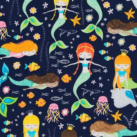 Navy Mermaids with Glitter