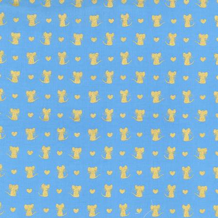 Metallic Gold Mice and Hearts on Blue: Nice Mice by Michael Miller