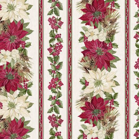 Holiday CM7758 Cream Poinsettia Stripe w/Metallic
