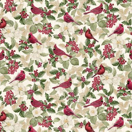 Holiday CM7759 Cream Cardinals w/Metallic