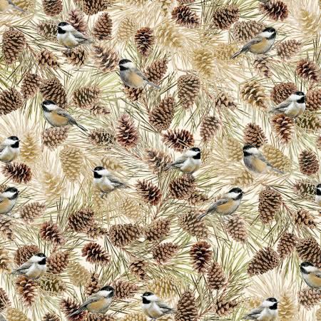 Holiday CM7760 Cream Birds & Pinecones w/Metallic