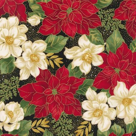 Holiday Bloom Red & White Metallic Poinsettia  CM7802 Black Timeless Treasures