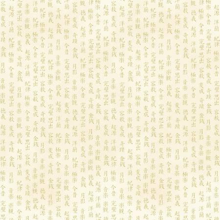 Timeless Treasures- Cream Japanese Letters w/Metallic CM7880-CRM