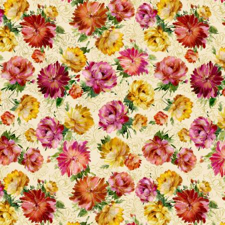 Timeless Treasures Felicity  Floral - Cream (Metallic)