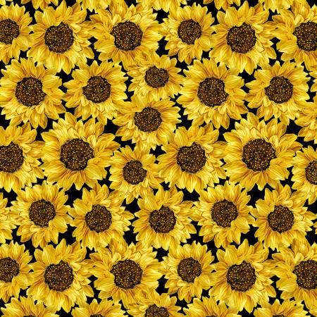 Packed Metallic Sunflowers Black
