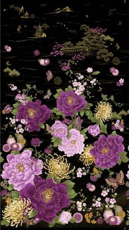 Timeless Treasures - Majestic-Japanese Purple Floral Panel/Black - CM8808-BLACK  - N33