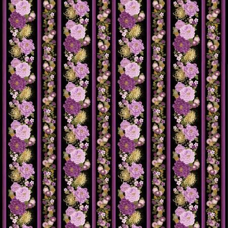 Majestic Purple Floral Border Stripe