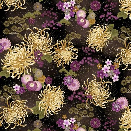 Japanese Purple Floral Medium- CM8811 Black