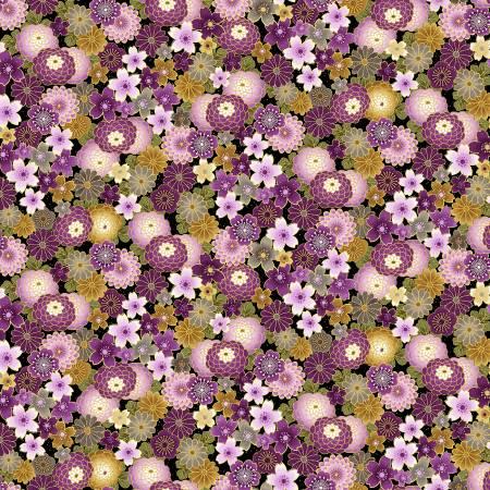 Majestic Japanese Sm Purple Florals Black