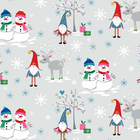 A Gnome to Fa La - Snow Village, Gray w/Metallic - by Michael Miller Fabrics