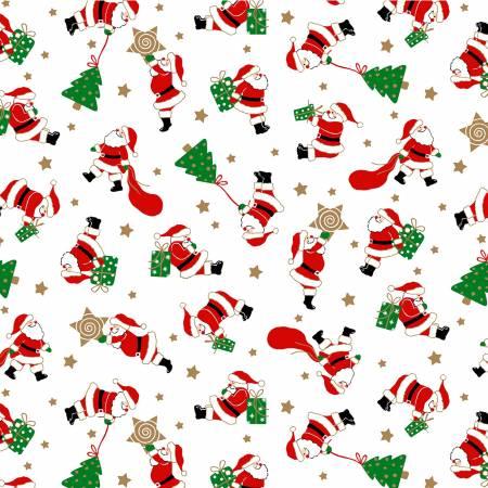 Vintage Christmas - Santas Workshop - White with Metallic