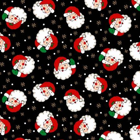 Vintage Christmas - Winking Santas - Black with Metallic