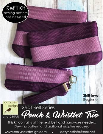 Seat Belt Pouch & Wrist Trio Kit REFILL - Purple