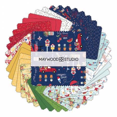 Maywood, Kimberbell, Red, White, & Bloom, 5 Squares, 42pcs.