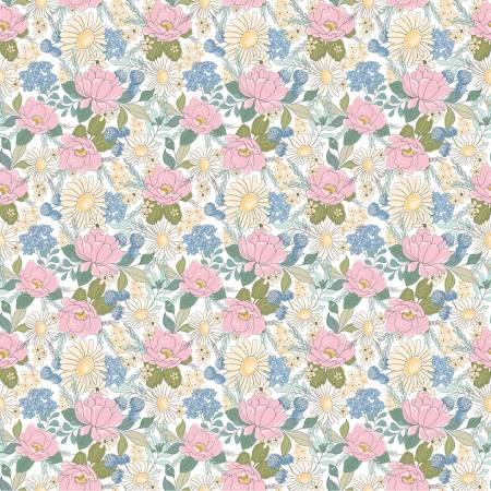 Poppie Cotton - Country Roads Floral White