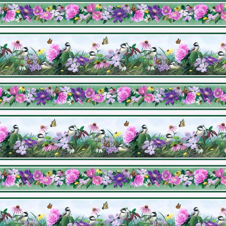 Chickadee Songbird Floral Stripe