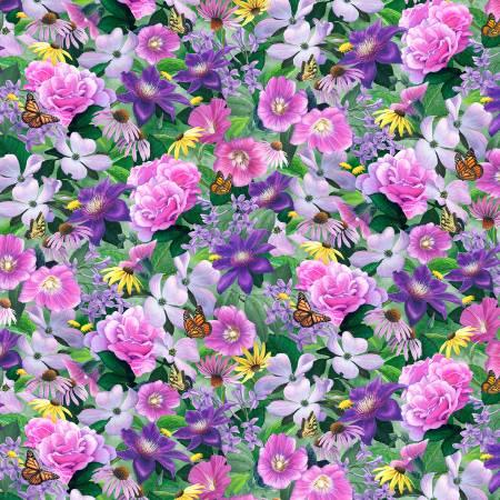 Chickadee Songbird Multi floral
