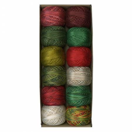 Valdani Pearl Cotton Ball Sz8 73yd 12 Colors Christmas Time