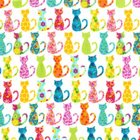 CX4911 WHIT D White Calico Cats for Michael Miller Fabrics. 100% cotton 43 wide